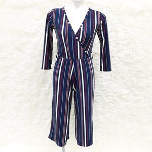 Derek Heart Red White and Blue Striped Romper